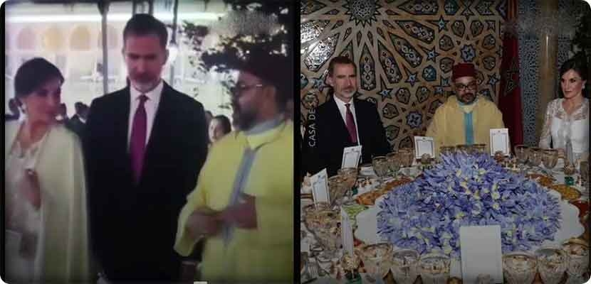 The king of Morocco covers the bare shoulders of the Queen of Spain