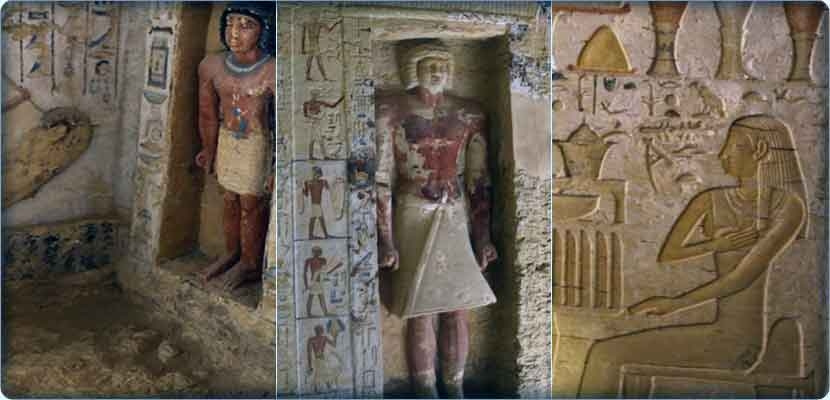 "Antiquities of Egypt: Details from inside the tomb of the priest of royal cleansing in the reign of the king ""Nefir Air Ka Ra"""